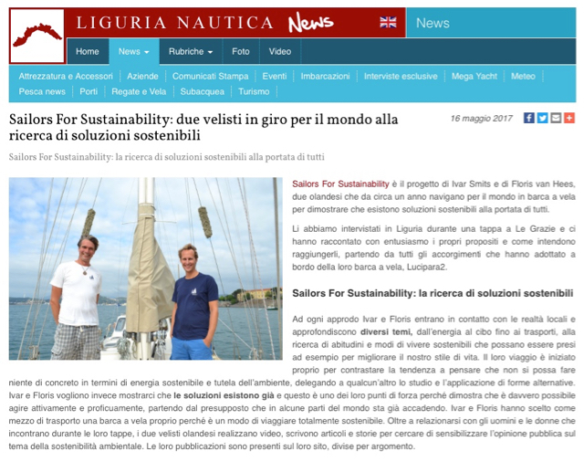 Sailors for Sustainability at Liguria Nautica 201705