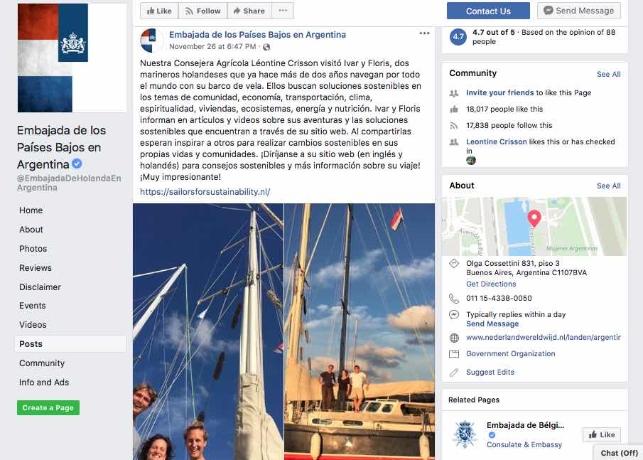 Sailors for Sustainability at Netherlands Embassy Argentina Facebook