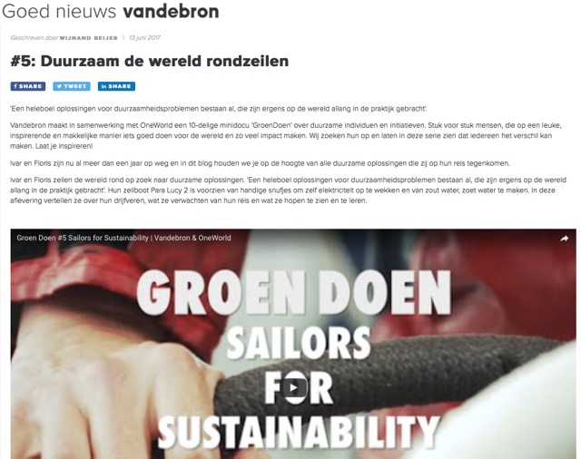 Vandebron about Sailors for Sustainability Groen Doen