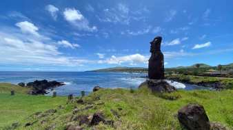 A moai overlooking our anchorage