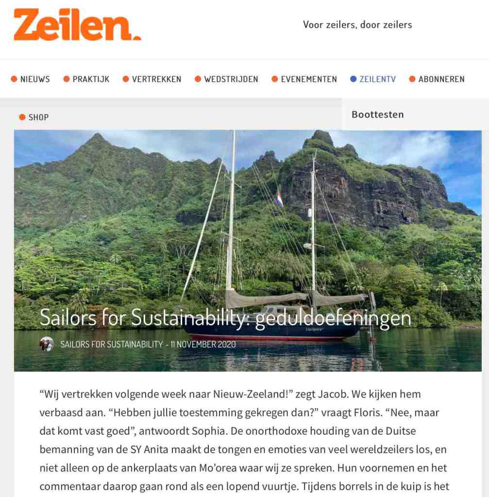 Sailors for Sustainability in Zeilen about patience