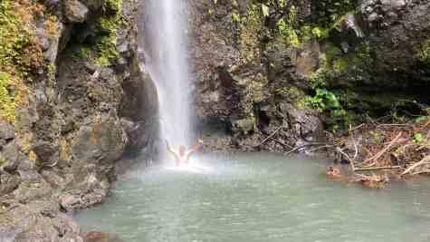 Refreshing reward for our hike on Raiatea