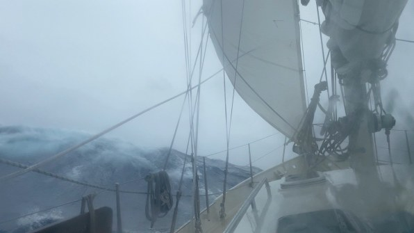 Our heavy duty cutter jib helps to keep the bow downwind
