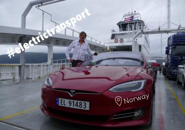 With a Tesla on the world's first fully electric car ferry in Norway