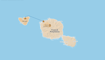 Our route from Moorea to Tahiti