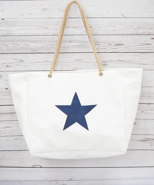 Navy Star Beach Bag