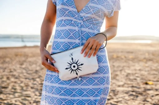 model carrying wristlet with a compass image