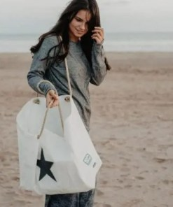 Grey Star Beach Bag with model
