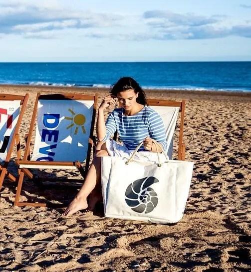 Ammonite Marine Life Beach Bag with model