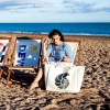 Ammonite Marine Life Beach Bag with model