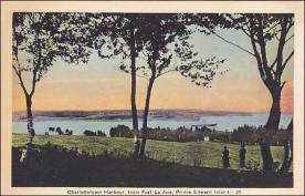 Harbour mouth from J.O. Hyndman Farm. Note S.S. Hochelaga leaving Charlottetown for Pictou
