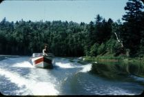 """Ron Atkinson heading up the West River - apparently not a """"no wake zone"""""""