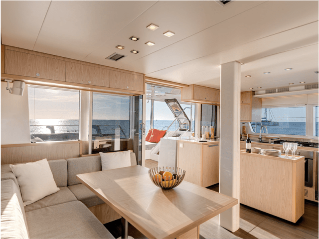 The Lagoon salon. Fitted out like a luxury condo, it's really comfortable and perfect for entertaining at anchor.