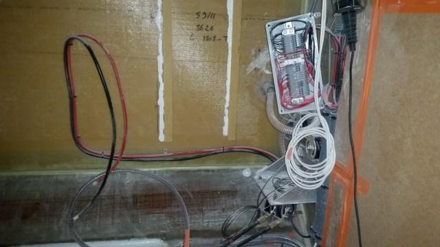 Cabling in Lindsay's cabin