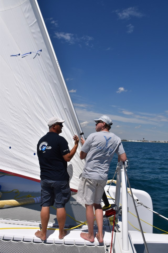 Today we're sailing with the Code-0. Jean-Pierre and I getting ready to raise the sail.