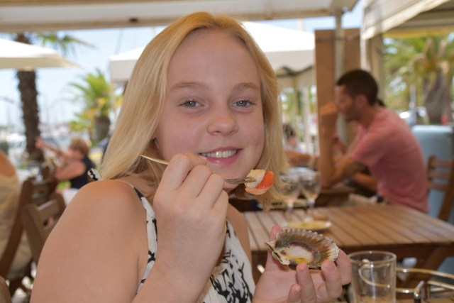 Enjoying seafood in the Mediterranean helps to forget the long flights!