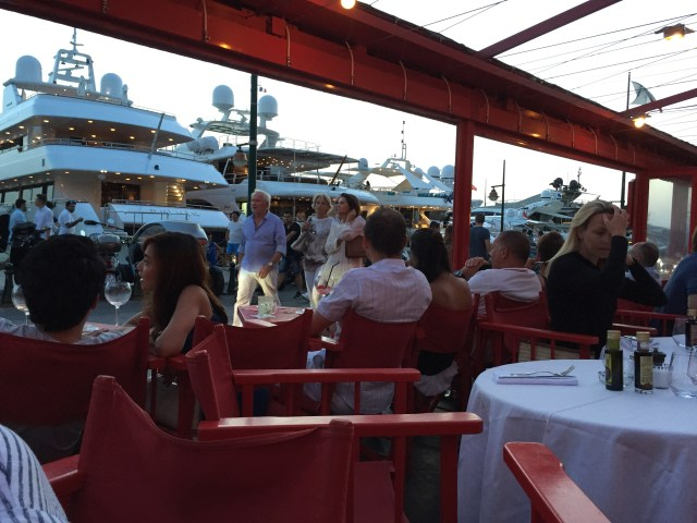 Having dinner on Superyacht Row in St Tropez