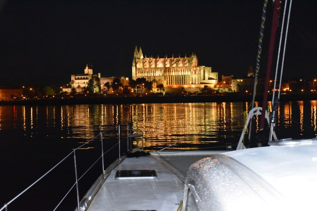 Night view from our anchorage in Palma