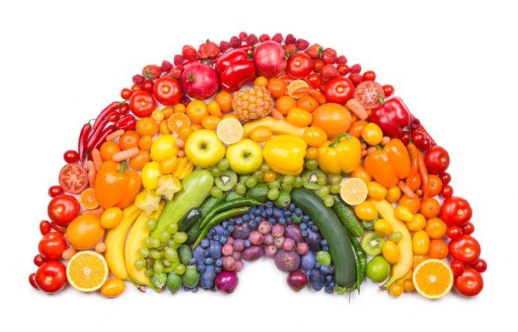 Fruits et légumes couleurs de l'arc-en-ciel