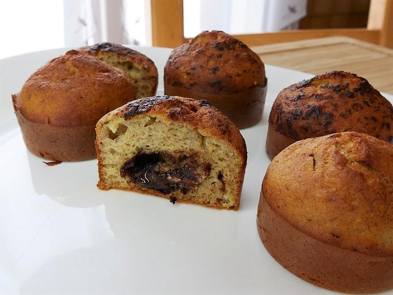 Muffins à la banane fourrés au chocolat - Muffins à la banane fourrés au chocolat