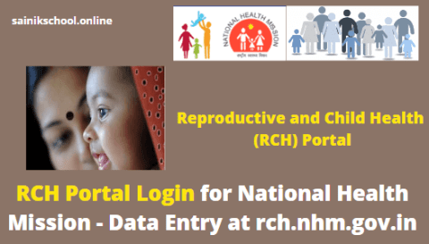 RCH Portal Login for National Health Mission - Data Entry at rch.nhm.gov.in