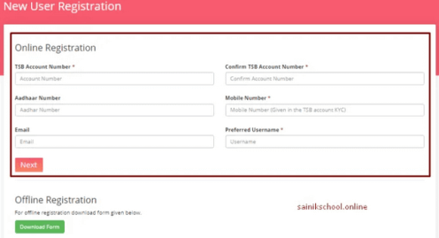 How to do the tsbonline.kerala.gov.in New User Registration at the TSB online?