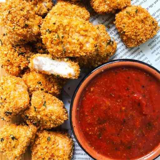 recette healthy et diététique de nuggets de poulet croustillantes sans chapelure et sans oeufs
