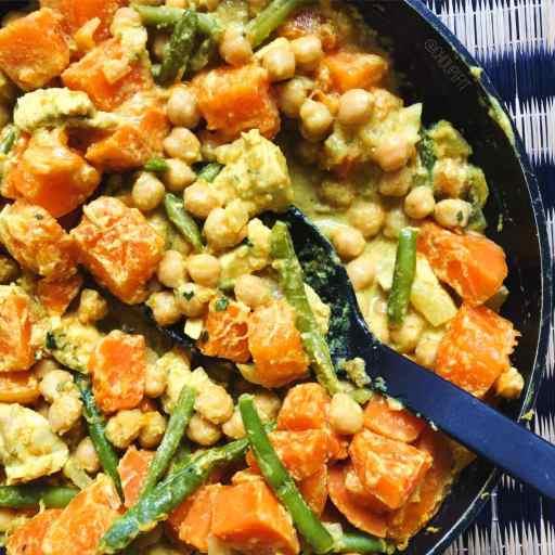 recette healthy et allégée de curry de courge au lait de coco sans gluten et sans lactose