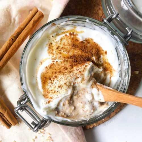 Porridge froid et protéiné façon chaï latte