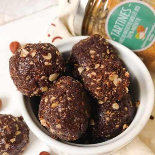 Energy balls cacao et noisettes vegan façon nutella
