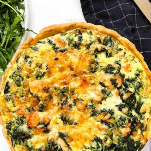 Recette healthy et allégée de quiche au saumon et épinards avec pâte maison sans beurre
