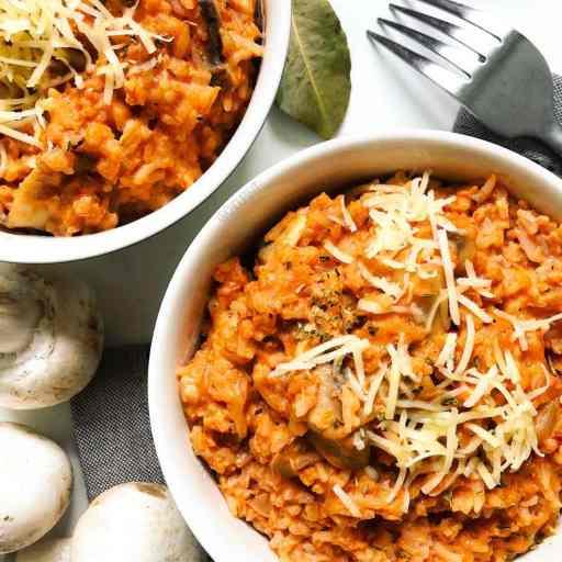 recette healthy et facile de risotto au riz basmati à la bolognaise sans crème, sans huile et sans gluten