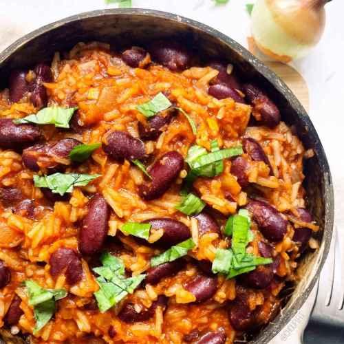 Riz aux haricots rouges et sauce tomate