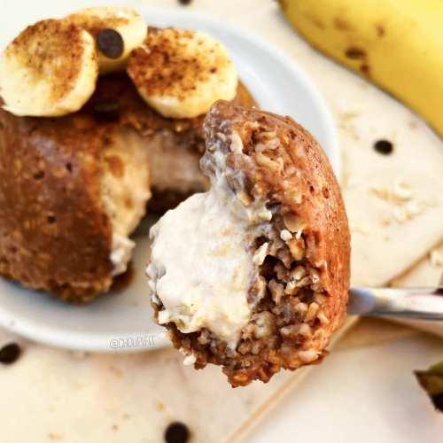 Pudding d'avoine au chocolat fourré à la banane