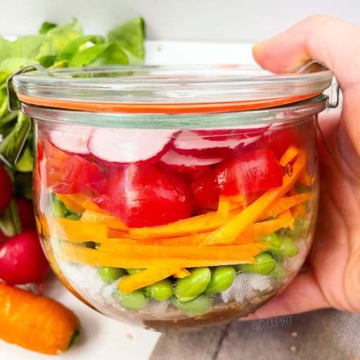 recette vegan et healthy de salade de riz froide sans gluten à l'asiatique