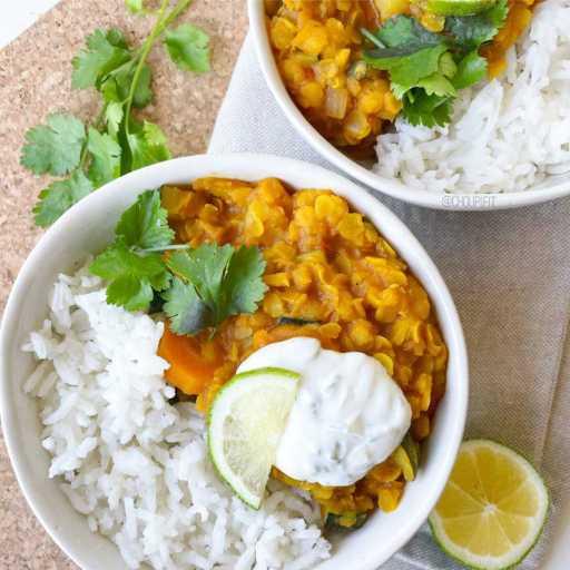 recette healthy et vegan de curry de légumes et de lentilles corail sans gluten et sans lait de coco