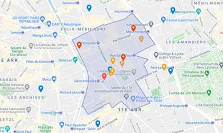 Plan du périmètre de l'église Saint Ambroise Paris contacts