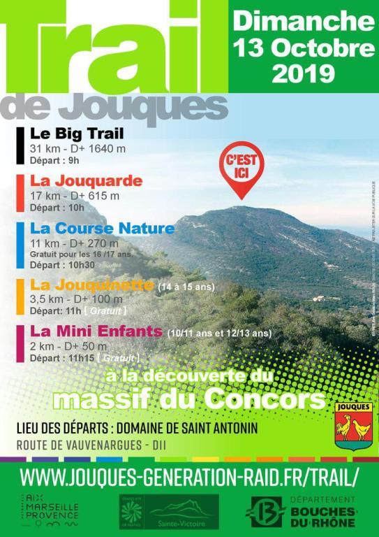Affiche de la 15e édition du Trail de Jouques, organisée en 2019 sur le Domaine Saint-Antonin