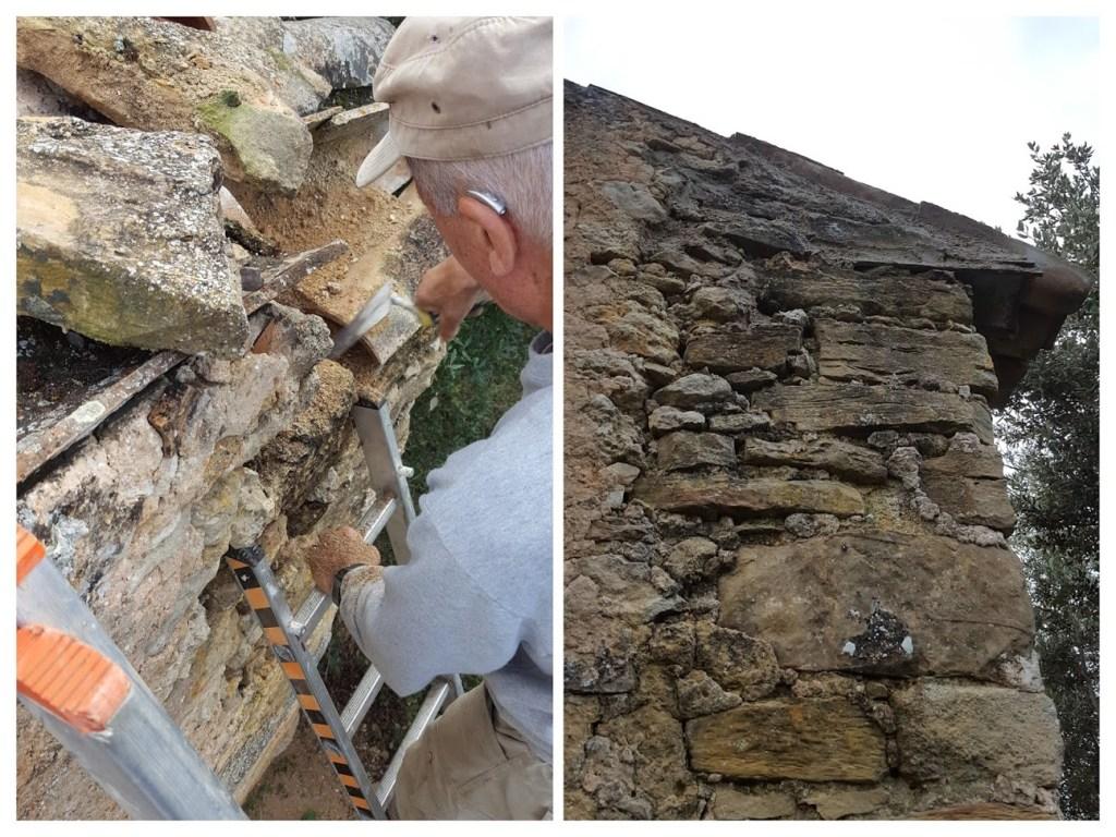 Réparation de l'angle nord-ouest fragilisé par les ruissellements d'eau de pluie.