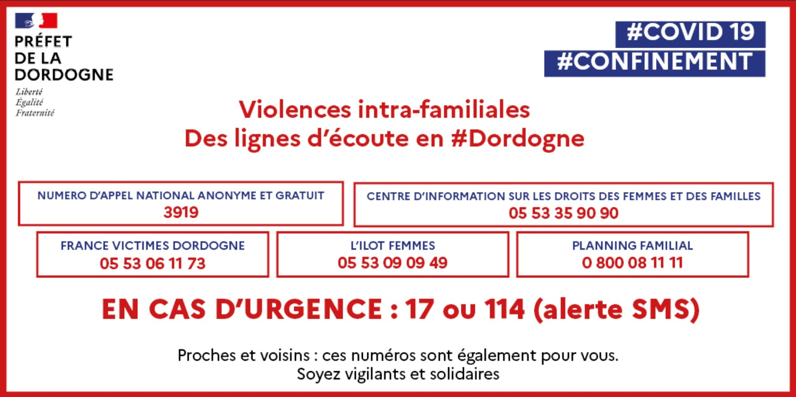 Violences Intra-familiales pendant le confinement