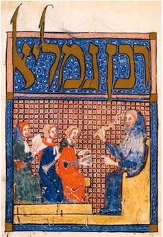 Rabban Gamaliel instruisant ses étudiants. Enluminure de la Haggadah de Sarajevo