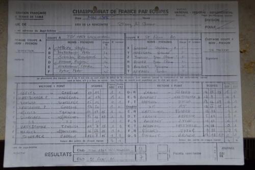 1986 Spielbogen erstes Match in St. Rémy