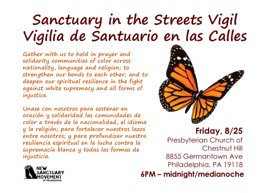 Sanctuary in the Streets NW Philly Vigil Flyer