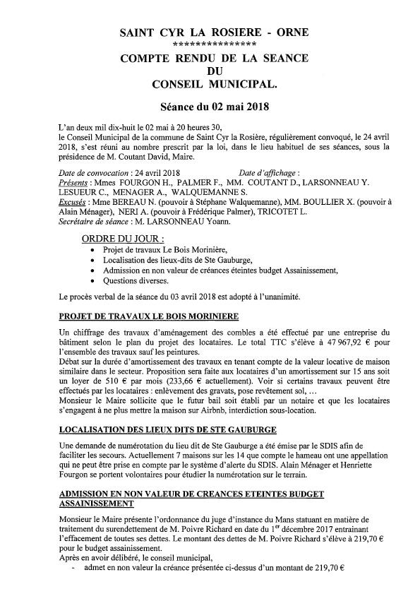 Compte rendu conseil 2 mai 2018