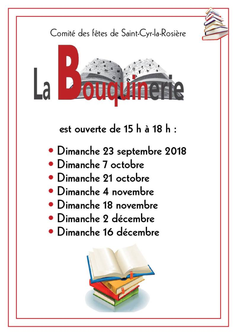 calendrier bouquinerie sept-dec 2018