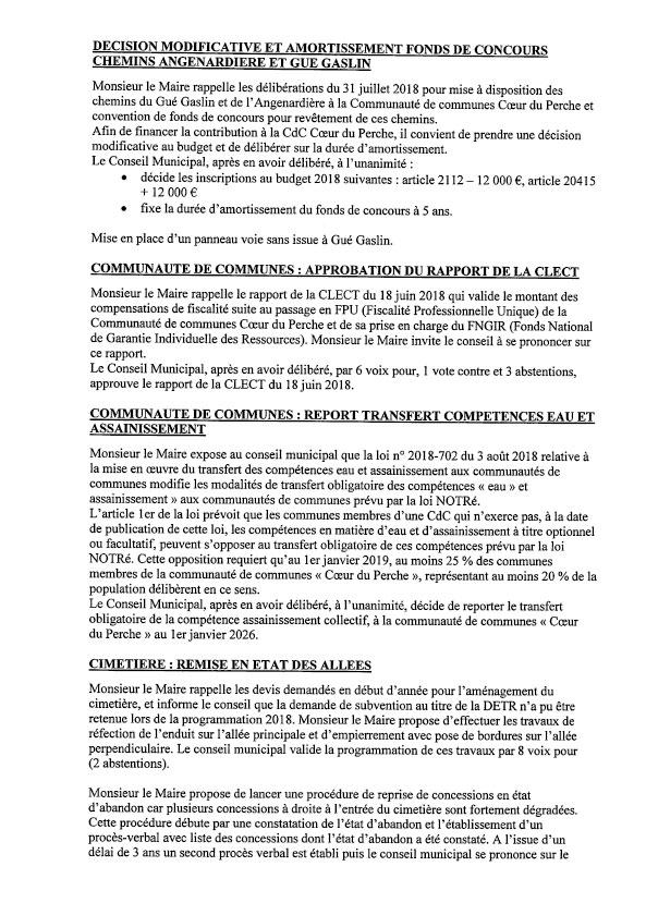 Compte rendu du conseil municipal du 25 septembre 2018-2
