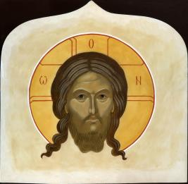 """Image of Christ """"Made without Hands."""" Icon above the monastery gate."""