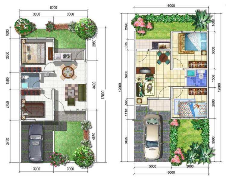 denah rumah minimalis 6x12