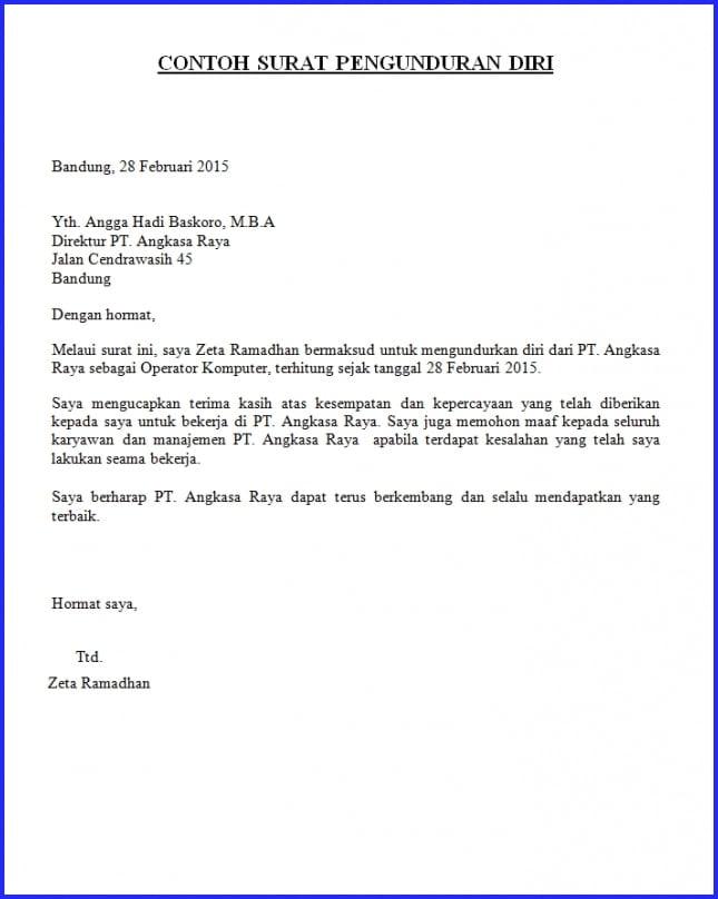 35+ Contoh Surat Pengunduran Diri / Resign yang Baik dan ...