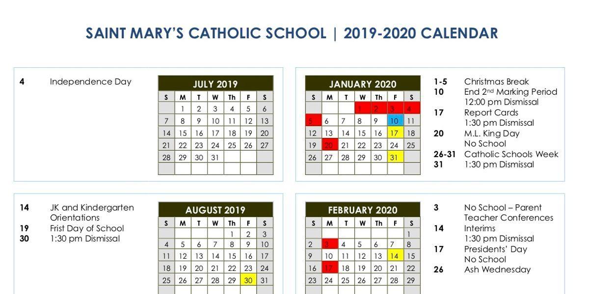 2019 – 2020 School Calendar